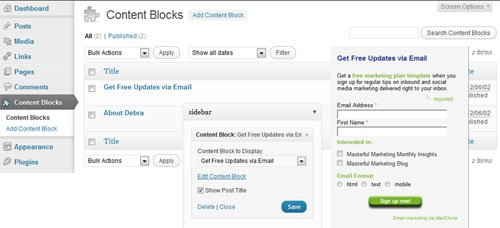 Custom Post Types using WordPress Custom Post Widget Plugin