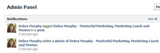 Facebook page tagging notification