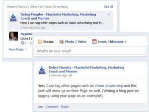 Facebook Page Tagging another Page